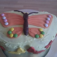 Butterfly Butterfly cake made using 2 layers of a a silicoln mould. Butter cream icing and then rolled fondant which was pressed into the mould...