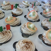 Cinco De Mayo Cupcakes are Churro flavored and hats are made of White Chocolate