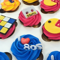 80's Themed Birthday Cupcakes