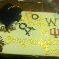 Black And Gold Grad Cake. Chocolate cake with buttercream & fondant icing. Gumpaste accents.