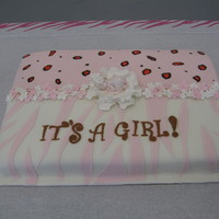 Pink Baby Shower Cake. Chocolate cake, LMF fondant and gumpaste decos.