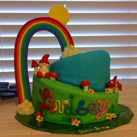 Happy Gnome 1st attempt at topsy turvy...fondant rainbow, gnome, mushrooms, etc
