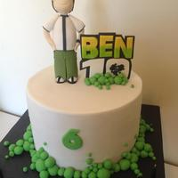"Ben 10 Birthday Cake *An 8"" round Ben 10 Birthday Cake I created for a dear friend's little boy who was turning six. Banana mud cake and milk..."