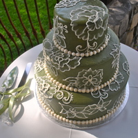 Fancy Green Fondant I made this cake with MMF and buttercream detailing. TFL!