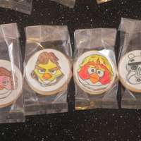 Angry Birds Star Wars Cookies Made for the party bags at my sons 5th Birthday party. Sugar cookies with white fondant on then traced the outline on then coloured in with...