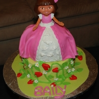 Baily Prinses dora, french vanila cake with vanilla butercream, coverd in fondant with fondant decorations, thanks for the inspiration I found...