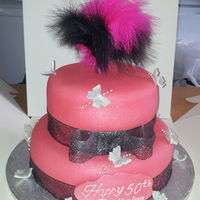 2 Tiered Pink Butterfly Cake 2