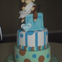 Monkey Themed Baby Shower Gum paste monkey, her colors were blue, brown and green.