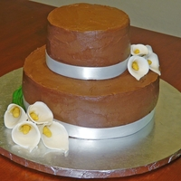 Calla Lily Birthday Cake Chocolate cake with chocolate buttercream. Calla Lilies are gumpaste. TFL