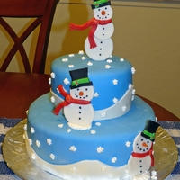 Snowman Cake I saw this cake on Wilton's website and thought it was perfect for my husbands holiday potluck at work. The cake is WASC covered in...