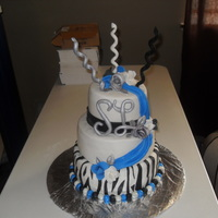 Royal Black And Silver Fondant with gum paste accents