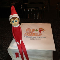Elf On The Shelf Made Of Fondant Book Cover Edible Image   Elf on the Shelf made of fondant, book cover edible image