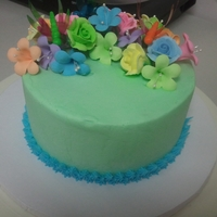 Multicolor Flowers Cake