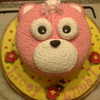 Pink Teddy Bear White sponge cake, covered in BC & fondant.