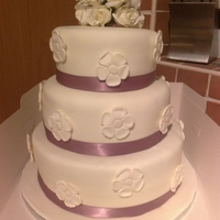 3 Tier Choc Amp Vanilla Cake Frosted With Bc Amp Covered In Fondant Flowers Attached To Cake Made With Modelling Paste The Posy At T 3 Tier Choc & Vanilla cake frosted with BC & covered in fondant. Flowers attached to cake made with modelling paste. The posy at...