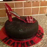 Shoe Birthday Cak A white sponge cake, covered in fondant, edible glitter and gumpaste shoe (my 1st) for a lady that loves all that sparkles! It's not...