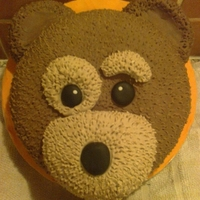Little Charlie Bear White sponge, with buttercream & coloured fondant.