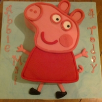 Peppa Pig Vanilla sponge covered in fondant.