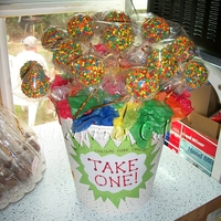 Confetti Cake Pops   i made these for all the kids at my big family cookout :)