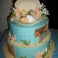 Beach Baby Shower  i made this for a friend of mine. In all honesty i think this is my favorite cake i have ever made! top tier is chocolate cake with peanut...