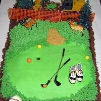 Golf Course Construction Deer This was a very quick, Father's Day cake for my husband, FIL, and BIL. They all enjoy deer and Deere (FIL owns a clearing business);...