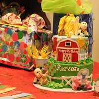 "Barnyard First Birthday  Tiered cake to match ""Barnyard First Birthday"" paper good. I cut out everything except the tree tops by hand. The tree tops are..."
