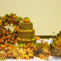 Fall Tiered Basketweave With Leaves And Pumpkins