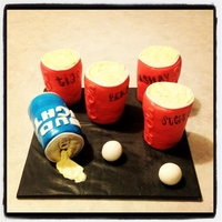 Beer Pong Game SOLO CUPS AND BEER CAN IS RKT WITH CUPCAKES AND COVERED IN FONDANT