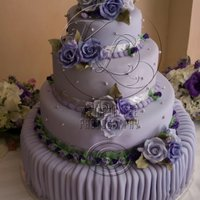 3 Tier Wedding Cake Lavender Wedding cake With pleated bottom tier