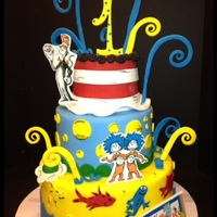 Dr Seuss One Fish Two Fish Cat In The Hat 5811 Swirls Are Dried Fondant Onto Covered Wires Gumpaste Figures From Edible Imagery   Dr Seuss, one fish two fish, cat in the hat, 5/8/11, swirls are dried fondant onto covered wires, gumpaste figures from edible imagery.