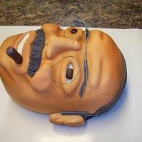 Head Bust Cake  sheet cakes carved into our friends head/face shape. Cake replica of bill from our local cigar shop. used gumpaste for depth features and...