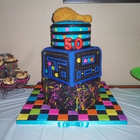 Splash Of 80's I made this cake for an 80's bday party. The guest of honor loves fried chkn, which is why there is a drumstick on top (made out of RK...