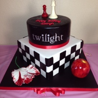 Im A Twilight Fan And Had A Lot Of Fun Making This Cake The Top Tier Is A Dummy Cake The Bottom Cake Is Pumpkin W Crm Chz Bc Covered W I'm a Twilight fan and had a lot of fun making this cake. The top tier is a dummy cake, the bottom cake is pumpkin w/ crm chz bc...