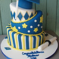 Andrew's Hs Grad Cake I made this cake for my nephew's high school grad party. The cap and top tier are carrot cake with crm chz bc. The second tier is...