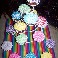 My Pretty Flower Cups Yellow cake with guava filling and marshmallow dipped in colored sugar.