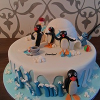 Pingu   Pingucake for a 4 yr old boy, figures all made of fondant