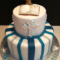 "Blue Striped 1St Communion Cake 10"" bottom tier in vanilla cake/vanilla mousse & fresh blueberries, 6"" choc cake/cookies & cream, chalice, cross &..."