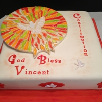 "Stained Glass Confirmation Cake My sister in law showed me a picture of a stained glass and asked if I could recreate for my nephew's confirmation cake. 10""..."