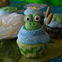Pond Theme Cupcakes Key Lime With Key Lime Buttercream And Fondant Embellishment   *Pond theme cupcakes. Key lime with key lime buttercream and fondant embellishment.