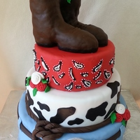 Cowboy Wedding   fondant cake with rice crispy boots