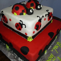 Ladybugs   Fondant covered cake and ladybugs.