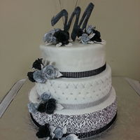 Black White Silver   Gum paste roses