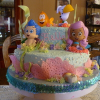 Bubble Guppies, I've been wanting to try an underwater cake for a long time. a friend at work asked if I could do a bubble guppies cake for her...