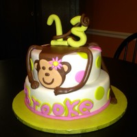 "Girl Monkey My daughter said she wanted a monkey ""hugging"" the cake! i got a lot of inspiration from here on cc"