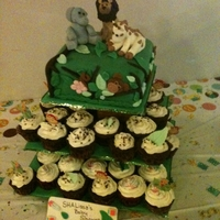 Safari Baby Cupcakes Yellow Butter cake with redvelvet cupcakes.