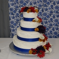Wedding Cake W/ Piped Bows