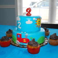 "A ""two-Two"" Choo Choo Birthday My son's 2nd birthday cake, train themed. Cookies and cream cupcakes"