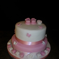 Christening Cake   tier cake with baby shoes and blocks for baby sumer rose