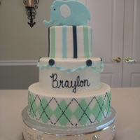 Baby Shower The cake is iced in buttercream with fondant decorations and a gumpaste elephant.