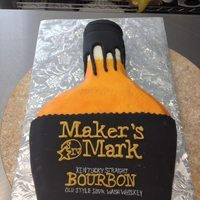 Maker's Mark Groom's Cake The cake is iced in buttercream with fondant cap and label. I did all the wording freehand